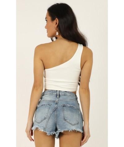 Stop The Sun Denim Shorts In Light Wash