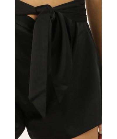 Staring Me Down Shorts In Black Satin