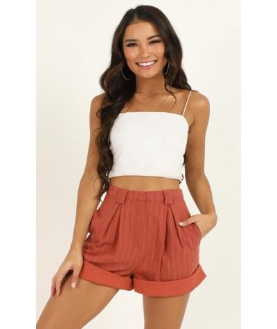 Im Beggin You Shorts In Rust Stripe Linen Look