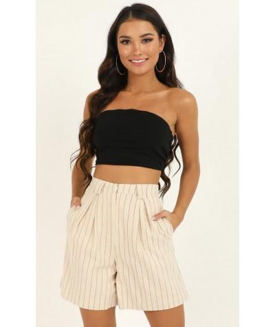 Im Beggin You shorts In Beige Stripe Linen Look
