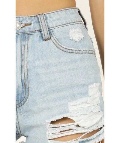 Rough Around The Edge Denim Shorts In Light Wash