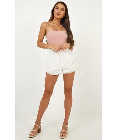 Island Escapade Broidery Shorts In  White