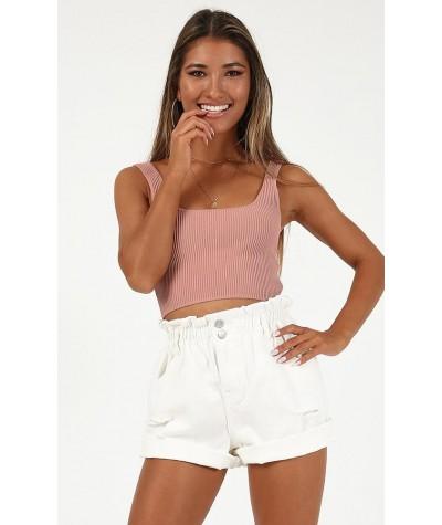 No Rest Denim Shorts In White