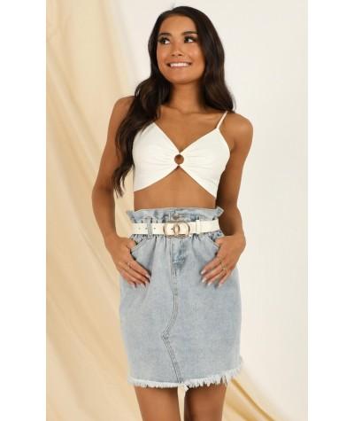 Got The Vibe Denim Skirt In Light Wash