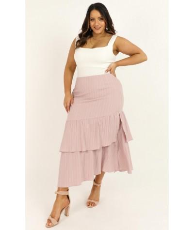 Day Tripper Midi Skirt In Blush