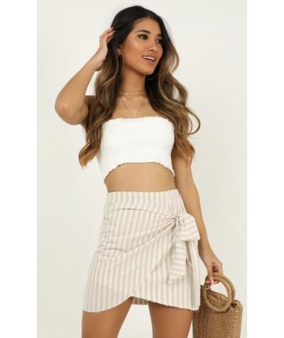 Not Happening Skirt In Beige Stripe Linen Look