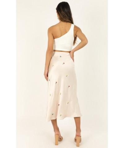 Peace Maker Skirt In Cream Satin