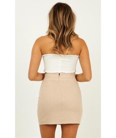Stand In The Desert Skirt In Beige Linen Look
