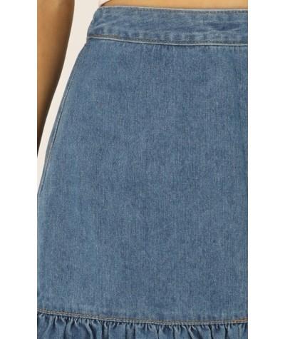Return To Me Denim Skirt In Mid Wash