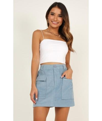 True Beginning Skirt In Blue Cord