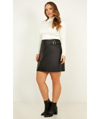 Mark Me Skirt In Black Leatherette