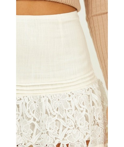 Love Lives Skirt In White Lace
