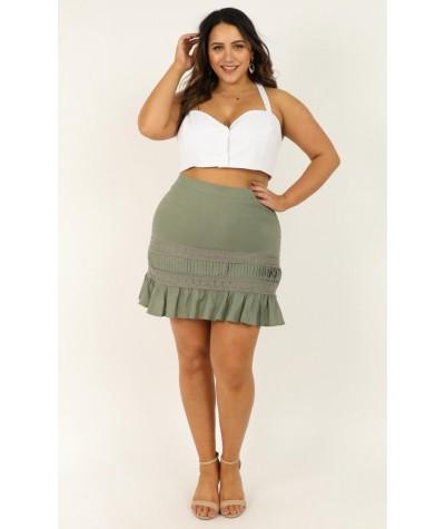 Leave It Here Skirt In Khaki Linen Look