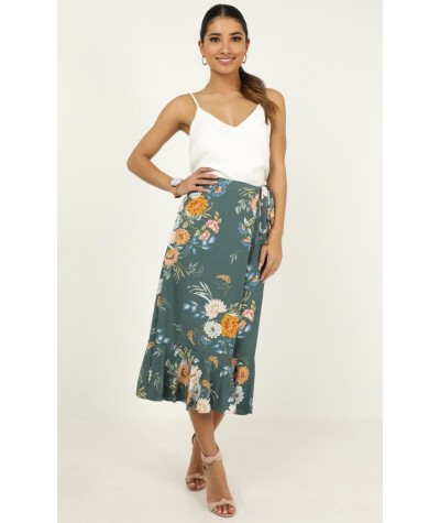 Meeting Ground Skirt In Sage Floral