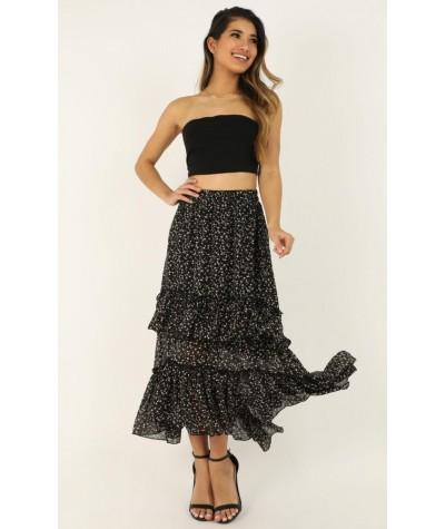 Never Empty Skirt In Black Print