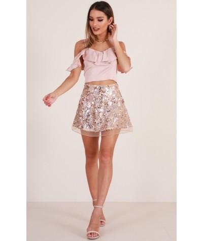 Golden Rush Skirt In Gold Sequin