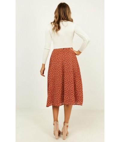 In The Fields Skirt In Rust Polka