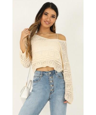 Falling Dreams Knit Top In cream crochet