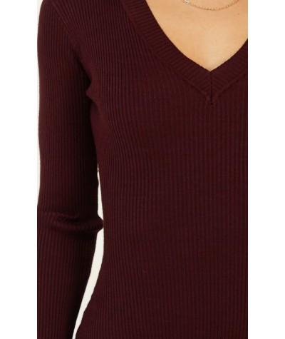 Indoor Days Knit Bodysuit In aubergine
