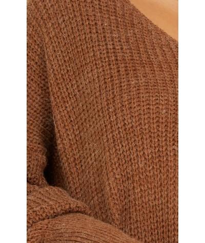Secret Corner Knit Jumper In Brown Marle